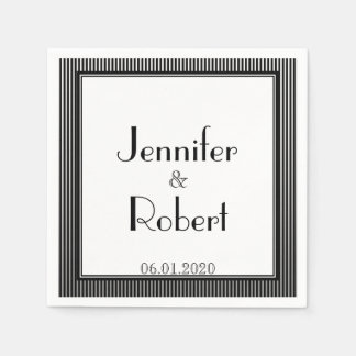 Kunst-Deko-elegante Schwarzweiss-Streifen-Hochzeit Papierservietten
