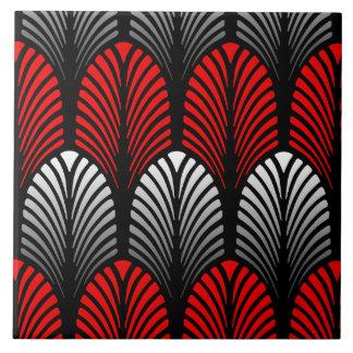 Kunst-Deko-Feder-Muster, silbernes Grau und Rot Keramikfliese