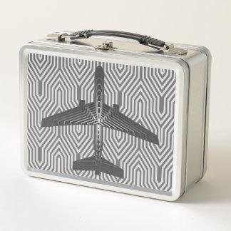 Kunst-Deko-Flugzeug, Graphit und silbernes Grau Metall Lunch Box