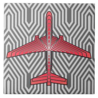 Kunst-Deko-Flugzeug, korallenrotes orange und Fliese