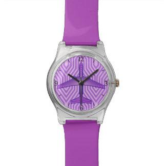 Kunst-Deko-Flugzeug, violettes Lila und Lavendel Armbanduhr
