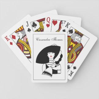 Kunst-Deko-Frau in den großen Hut-Handschuhen RL Spielkarten
