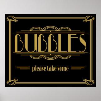 Kunst-Deko Gatsby Art Blasen gefallen nehmen Poster