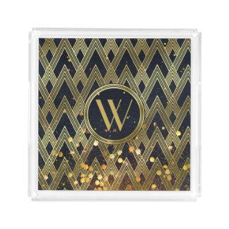 Kunst-Deko Gatsby Glamour-geometrisches Acryl Tablett