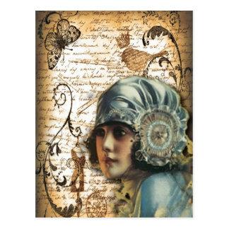 Kunst-Deko Gatsby Mädchen-Parisfashionista Postkarte