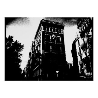 Kunst-Deko-Gebäude Schwarzweiss Poster