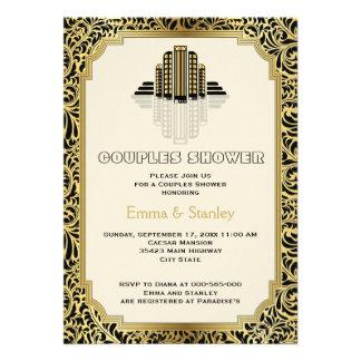 Kunst-Deko-Gebäudegoldhochzeits-Paardusche Personalisierte Einladungen