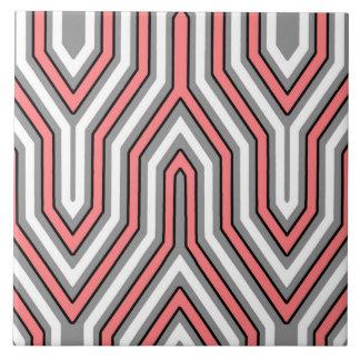 Kunst-Deko geometrisch - Koralle, Grau und Weiß Fliese