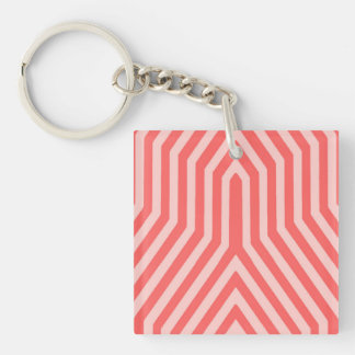 Kunst-Deko geometrisch - korallenrotes Rosa und Schlüsselanhänger