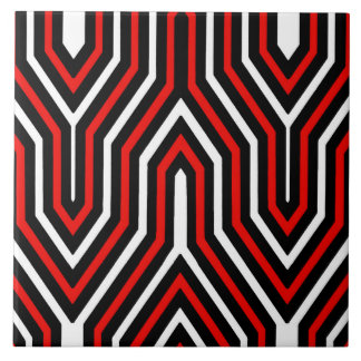 Kunst-Deko geometrisch - Rot, Schwarzweiss Keramikfliese