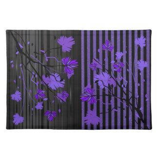 Kunst-Deko-lila und schwarzes Blumen Tischset