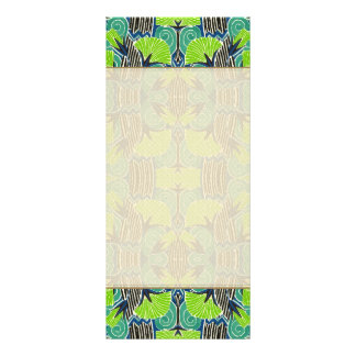 Kunst-Deko-Muster - tropische Grüntöne und Blues Werbekarte