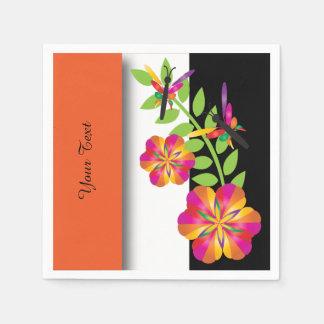 Kunst-Deko-orange Blumen Papierserviette
