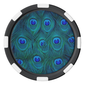 Kunst-Deko-Pariser aquamarine grüne Pfau-Feder Pokerchips