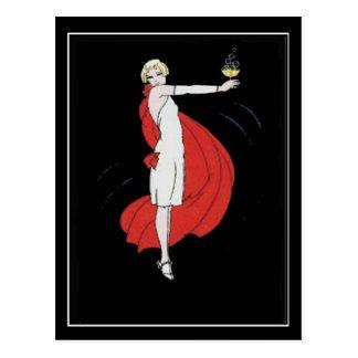 Kunst-Deko-Party-Mädchen-Vintage Postkarte