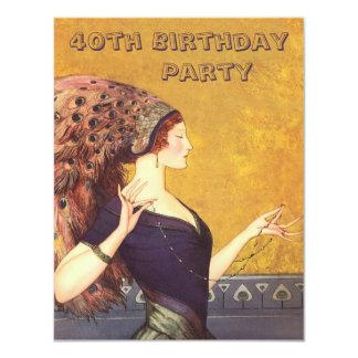 Kunst-Deko-Pfau-Prallplatten-40. Geburtstags-Party 10,8 X 14 Cm Einladungskarte