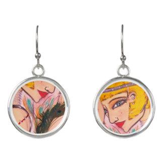 Kunst-Deko-Prallplatten-Mädchen-Tropfen-Ohrringe Ohrringe