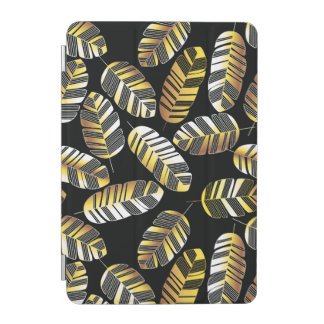 Kunst-Deko-Schwarz-goldenes Feder-Blatmuster iPad Mini Cover