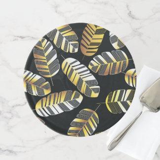 Kunst-Deko-Schwarz-goldenes Feder-Blatmuster Tortenplatte
