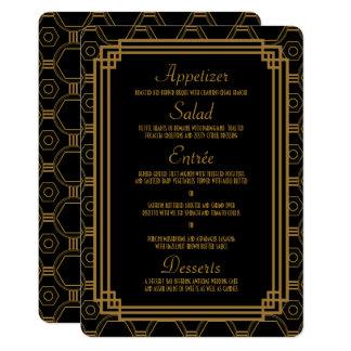 Kunst-Deko-Schwarz-Hochzeits-Menü-Karten 12,7 X 17,8 Cm Einladungskarte