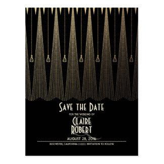 Kunst-Deko-Schwarzes und Gold Vintag Save the Date Postkarte