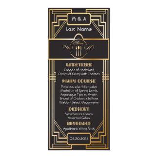 Kunst-Deko-Schwarzes und GoldGatsby Hochzeit 10,2 X 23,5 Cm Einladungskarte