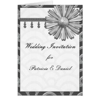 Kunst-Deko-Schwarzes, Weiß, silberne Hochzeit lädt Grußkarte