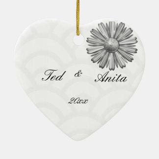 Kunst-Deko-Schwarzes, Weiß, silberne Hochzeit lädt Keramik Herz-Ornament