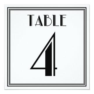 Kunst-Deko-Tischnummer 4 Quadratische 13,3 Cm Einladungskarte