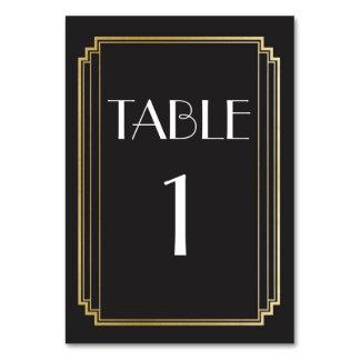 Kunst-Deko-Tischnummer-Gold u. schwarze Hochzeit Karte