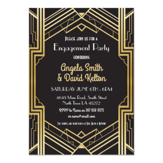 Kunst-Deko-Verlobungs-Einladungen Gatsby 12,7 X 17,8 Cm Einladungskarte