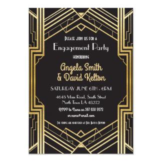 Kunst-Deko-Verlobungs-Einladungen Gatsby Karte