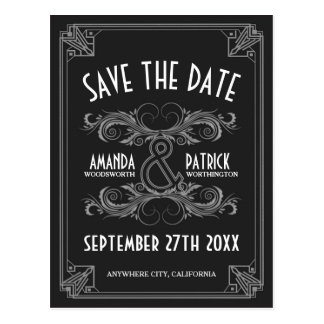 Kunst-Deko Vintag Save the Date Wedding Karten