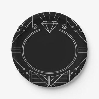 Kunst-Deko-Vintager schwarzer silberner Pappteller 17,8 Cm