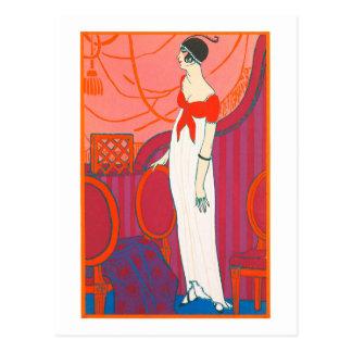 Kunst-Dekopostkarte 7 in der roten Farbe Postkarte