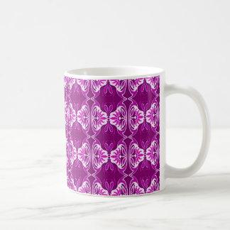 Kunst-Dekotapetenmuster - tiefpurpurn und weiß Kaffeetasse