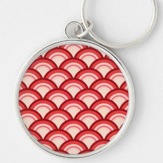 Kunst-Dekowellenmuster - korallenrotes Rotes und Schlüsselanhänger