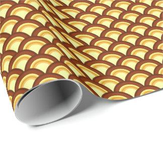 Kunst-Dekowellenmuster - Schokolade und Gelb Geschenkpapier