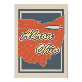 Kunst-Druck Akrons, Ohio - Reise-Grafik 12,7 X 17,8 Cm Einladungskarte