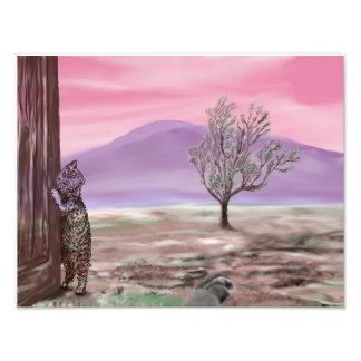 Kunst-Druck-Digital-Malerei - Katze an der Tür auf Fotodruck