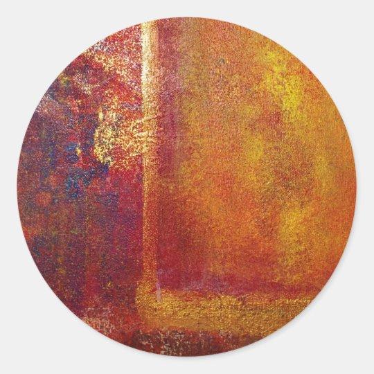 Kunst-Farbfeld-orange Rot-gelbes Gold Runder Aufkleber