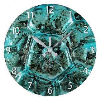 Kunst-Glasaqua-aquamarine blaue Juwel-Schildkröte Große Wanduhr