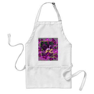 Kunst-Grau-Lila rosa Orchideen-Kunstgeschenke Schürze