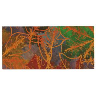 Kunst-Herbst verlässt Hintergrund in den Holz USB Stick