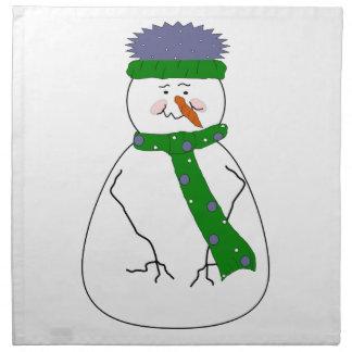 Kunst Herr-Snowman Cute Whimsical Primitive Stoff Servietten