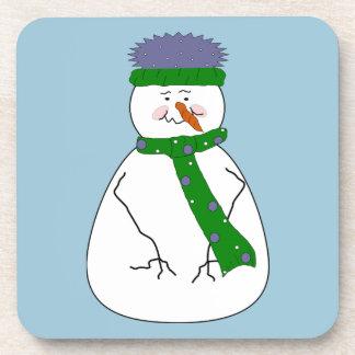 Kunst Herr-Snowman Cute Whimsical Primitive Untersetzer