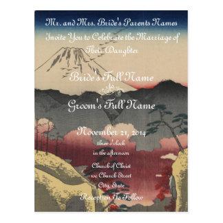 Kunst-Hochzeits-Einladung des Fujisans japanische Postkarte