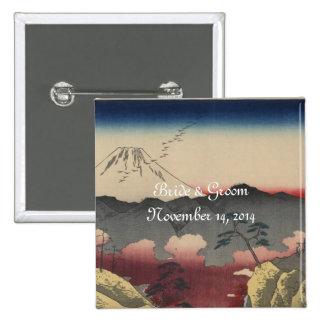 Kunst-Hochzeits-Einladung des Fujisans japanische  Quadratischer Button 5,1 Cm