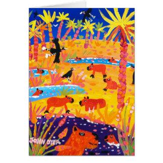 Kunst-Karte: Brasilianischer Capybara. Pantanal Karte