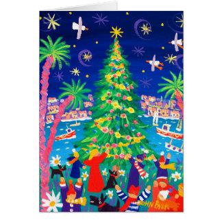 Kunst-Karte: Weihnachtslichter und Carol-Sänger Karte